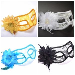 Горячие продажи Sexy Party Mask Черный Белый Красный Синий Золото Женщины Пернатый венецианский маскарадные маски Бал-маскарад кружева цветок Маски DBC BH3981