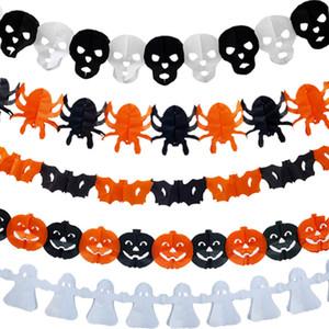 Santo 3M decoración de Halloween Papel Papel cráneo de la bandera calabaza de Halloween de la araña de la cadena decoración del partido Prop 8 Tire Banderas Estilos DBC BH3952