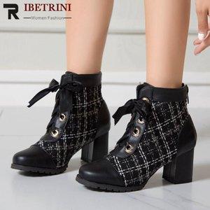 RIBETRINI dolce donne Lace Up punta rotonda caviglia Scarpe Donna Tacchi alti classica piattaforma di marca Stivali Fashion Designer Boots