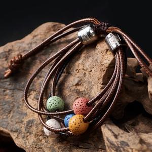 Wholesale Adjustable Volcanic Lava Stone Bead Bracelet Yoga Lava Essential Oil Diffuser Bead Braided Bracelets Bangle Healing Balance