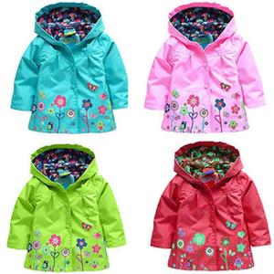 Citgeett Autumn Fall fashion Kids Children Girl Flowers long sleeve Hooded Waterproof Windproof Raincoat Jacket Outwear 3-7Y 200923