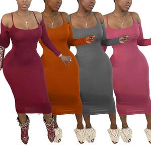 2020 outono inverno mais novos suspensórios sensuais moda feminina vestido de manga longa ocasional partido colher vestido de gola