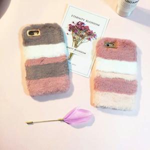 Coelho Quente Fluffy coloridos Phone Case Villi plush pele dura do PC volta caso capa de pele Para Iphone 11 pro max 6 7 8 Plus XS XR epacket livre