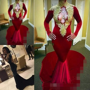 2020 New Designs Long Sleeves Red Sexy Mermaid Velvet Evening Dresses Long Keyhole Gold Lace Applique African Prom Dress Party 2k17