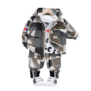 Baby Boy Out Ropa Primavera Autumn Niños Letra T Shirts Pantalones con capucha 3pcs / Sets Infant Outfit Kids Fashion Fashion Tracksuits LJ200831