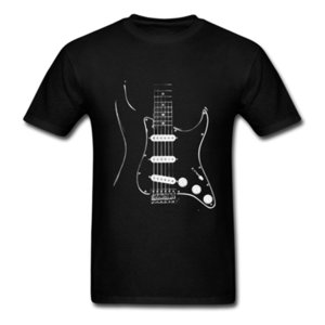 Black Guitar Strat Stratocaster Short Sleeved T-shirts Teenage Hip Hop Tops Tee 100% Cotton Round Neck Men's T Shirt For Team 0921