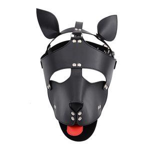 Ürünler Pu Seks Deri Hood Çiftler Kadın Erkek Gay Fetiş Flört Oyuncak Yetişkin Oyunları Şapka Köpek Kölelik Slave Maske