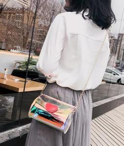 Summer 2019 New Korean Fashion Laser Transparent Shoulder Bag Cylinder Crossbody Bag