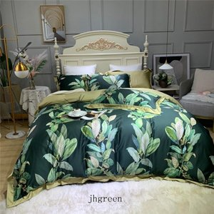 JH Quilt Cover Cotton High Quality Bedding Sets 3d Leaves Printing Comforters Cover Bed Case Sheet 4 Pieces Sets For Home