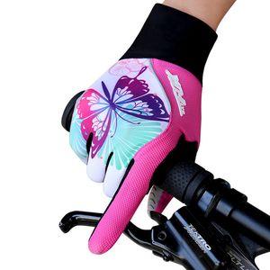 BATFOX vélo femmes hiver moufles Respirant Cyclisme chaud complet Finger VTT Route Gants vélo rose