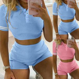 2020 المرأة الجديدة أزرار القطن عارضة الملابس وتتسابق امرأة Crewneck قصير كم 2 قطعة قصيرة مجموعة اخفض الياقة البدلة 86