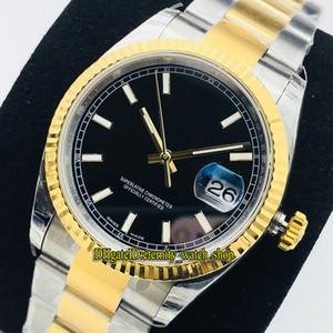 v2 업그레이드 버전 ewf datejust 36mm 116233 126233 CAL.3235 자동 116234 망 시계 블랙 다이얼 사파이어 바이 컬러 스틸 케이스 스포츠 시계