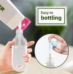 30ml / 50ml / 60ml libera di plastica di portachiavi con disinfettante Bottiglie mano riutilizzabili Bottiglie vuote Contenitori Spremere portatili con flip Cap DWF2974
