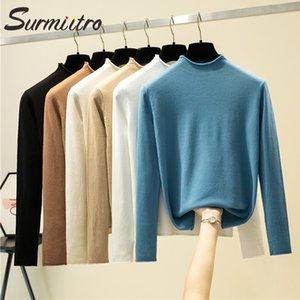 SURMIITRO alta Elastic Metade Turtleneck coreana de sweaters da Mulher 2020 Outono Inverno manga comprida Pullovers Primer Shirt Jumper Feminino
