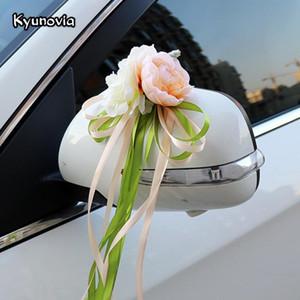 Kyunovia de mariage en soie artificielle Fleurs de mariage Poignées de porte de voiture et Rearview Mirror Party Chaise Décoration H15