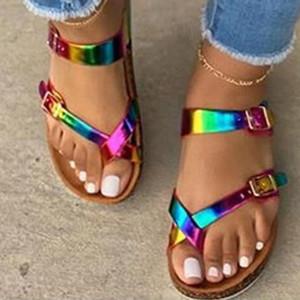 Ragazze Drop Shipping Muticolor Sandals Open Toe Flip Flop Arcobaleno sandali della piattaforma delle donne casuali della spiaggia Buckle Scarpe Donna