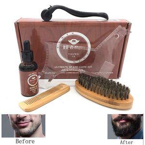 6pcs set Men Beard Kit Styling Tool Beard Oil Comb Moisturizing Wax Styling Scissors Waist Brush Care Set