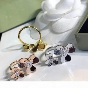 Frauen-Diamant Blumen Silber Ring Frivole Ringe Frau Hochzeit Clover Ringe