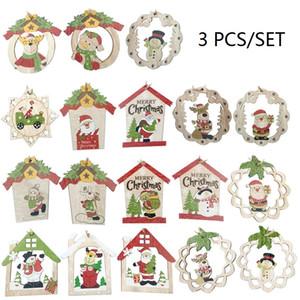 3pcs / set Pendentif en bois de Noël Père Noël Bonhomme de neige Elk Pendentifs Noël en bois Ornement Décoration