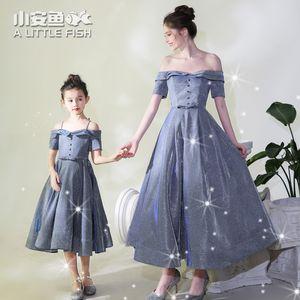 Boda del hombro hija de la madre del vestido de banquetes Walk-espectáculo de piano de la familia del traje de la ropa a juego de Navidad vestido de las mujeres de los niños