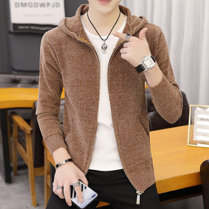 2020 Hot Clothes Fashion Male Coat Men Hooded Knittted Cardigan Mens Sweaters Casual Solid Color Korean Style Outwear Slim L65