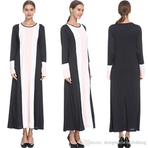 Clothing Muslim Dress O-neck Striped Long Sleeved Casual Loose Spring Long Dresses Vestidoes Abaya Turkish Women