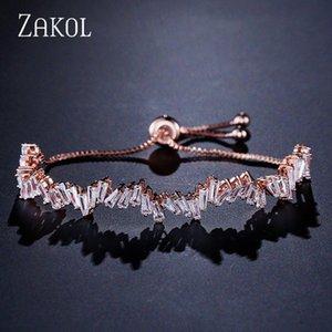 ZAKOL Moda Shinny Cubic Zircon Baguette ajustável Cadeia Bracelet Bangle Mulheres menina para jóia do casamento FSBP161 Vcan #