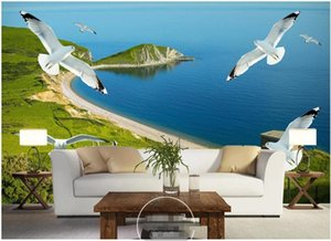 WDBH Custom photo 3d wallpaper Seaside grassland island seagull scenery decor living room 3d wall murals wallpaper for walls 3 d