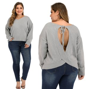 Plus Size Women's Long Sleeve Criss Cross Heart Knitted Sweater Backless Loose Jumper Sweaters ,Oversized women Sweater