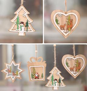 2D 3D рождественские деревянные висячие Подвески выдолбить Star Xmas Tree Белл Рождественский орнамент Главная партия украшения GGA3679-2