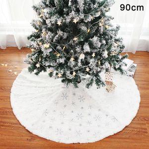 1pcs Albero di Natale gonna bianca Albero Gonna peluche Bead ricamato di Natale della decorazione della casa