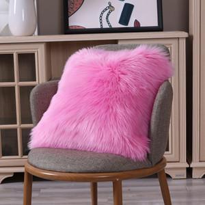 2020 New Hot Fashion Soft Faux Fur Throw Pillow Case Fluffy Plush Sofa Cushion Cover Room Home Decor