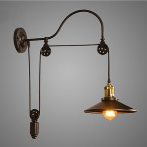Vintage retro industrial lámpara de pared Loft de pared ajustable hierro luces Ascensor de polea montado en la lámpara de pared Lámparas de ruedas para Pasillo Cocina CAF
