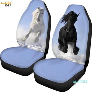 Copertura decorativo veicolo HUGSIDEA 2 pezzi Crazy Horse Stampa Car Seat Cover Auto Posto interiore Foglio Protector Bianco / Black Horse