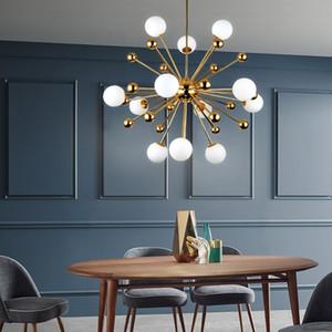 Lamba Salon Loft Süspansiyon Asma Postmodern Nordic Altın Sparkle Avize Işık Havai fişek Uydu Cam Toplar