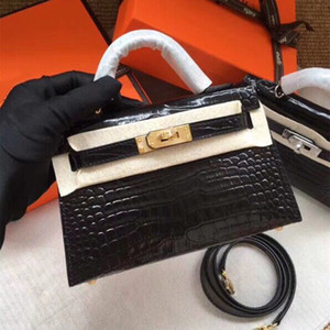 Mini Kelly II, modello coccodrillo, unico esemplare - qualità da cucire e due mani, 7A di fascia alta qualità su misura, con tracolla lunga