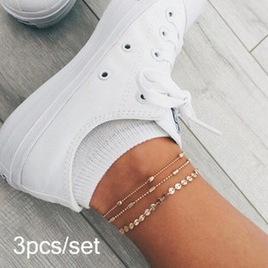Bohemian Multilayer Beads Anklets For Women Fashion Sequins Anklet Bracelet On Leg Summer Beach Anklet Set Female Foot Jewelry