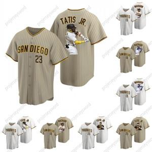 Mens 2020 New Style Star Portrait Jersey 23 Fernando Tatis Jr. TATIS JR 13 Manny Machado Cool Base Baseball Jerseys Tan Brown White S-XXXL