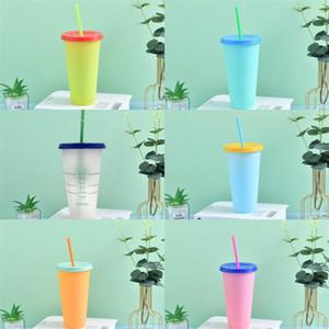 Pure Color che cambia tazza di paglia Cerchio Plastica Tumbler Temperature Sensing tazze di caffè riutilizzabile Pp trasparente con il coperchio Outdoor 5HB B2