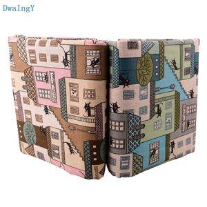 DwaIngY casa del gato de algodón tela de lino para DIY de coser acolchar Sofá cortina del bolso del amortiguador de la cubierta de muebles Material de medio metro
