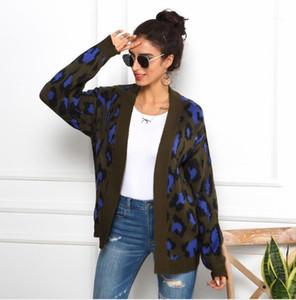 Leopard Print Long Sleeve Cardigan Mulher Camisolas Outono Inverno roupas folgadas Feminino Sweater Mulheres Moda roupas de grife Womens