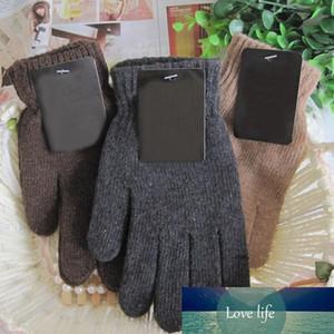 Gants en tricot Automne Hiver Homme Hommes Épaissir Gants en laine thermique Mitaines noir brun D18110806