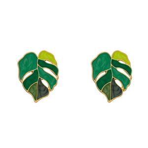 Tropical Plant Shape Green Enamel Leaf Drop Earrings Monstera Leaf Pendant Earrings for Women Summer Party Jewelry Gift