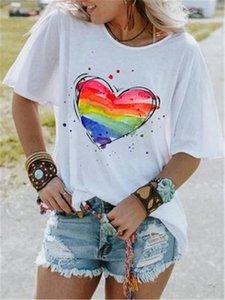 Love Heart Print Women T-shirt Fashion Trend Crew Neck Casual Short Sleeve Designer Hot Summer New Female Loose Tops Tee Clothing