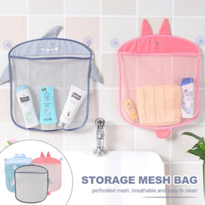 Cartoon Wall Hanging Storage Bag Kids Shower Toys Storage Bag With Strong Suction Cups Baby Bathroom Folding Mesh