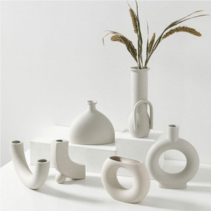 Presentes Nordic Ins vaso cerâmico Início Ornamentos Branco Vegetariana criativo Flower Pot cerâmica Vasos Início Decoração Artesanato