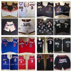 Mitchell & Ness Nostalgia Company Weinlese Mens Philadelphianba76ers Allen Iverson 3 Rookie Swingman Mesh-Stickerei Logos genähtes Basketball-Trikots