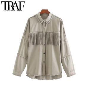 Traf frauen mode Übergroßen ausgefranst mit Fransen Denim Jacke Mantel Vintage langarm Quaste weibliche Oberbekleidung Chic Tops