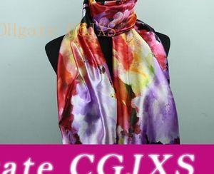 9styles Lavender Red Black Lily Flower Women &#039 ;S Fashion Satin Oil Painting Long Wrap Shawl Beach Silk Scarf 160x50cm S82 -S90