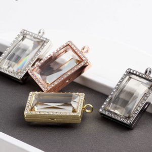 New Punk Iced Out Crystal Floating Locket Glass Living memory Photo Locket Pendants Necklace Without Chain for Women Men Jewelry